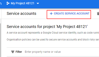 Click on 'Create service account in the console