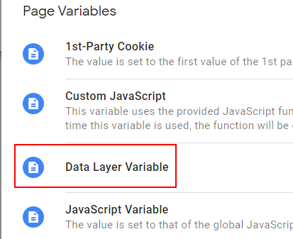 Data Layer Variable 1