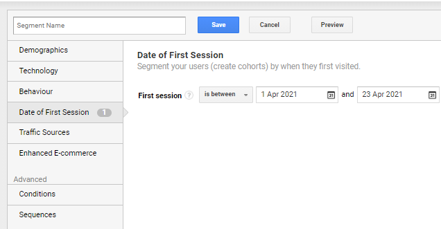 Date of first session segment
