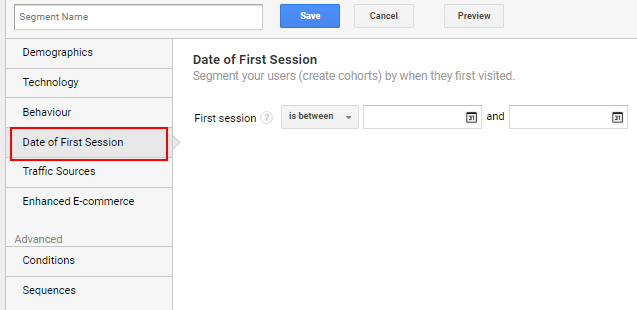 Date of first session