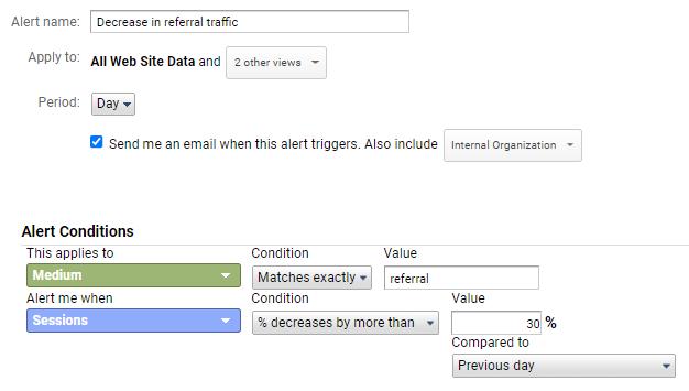 Decrease in referral traffic