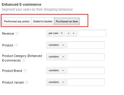 Enhanced ecommerce segment option