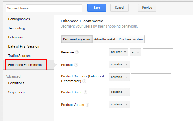 Enhanced ecommerce segment