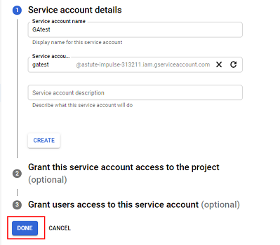 Enter the service account name of your choice