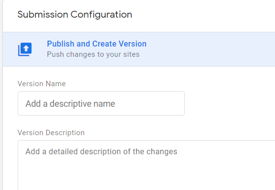 GTM submission configuration