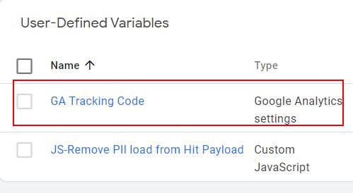 Global Google analytics Variable