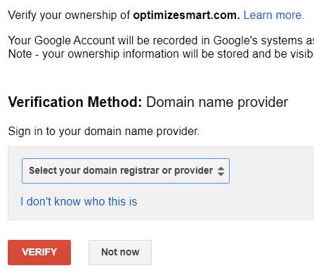 New tab for domain verification
