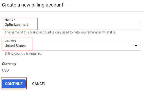 create new billing account