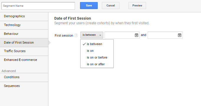 date of first session options