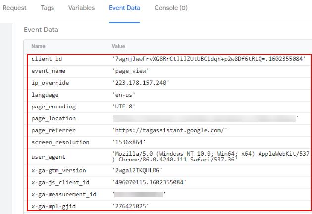 event data tab