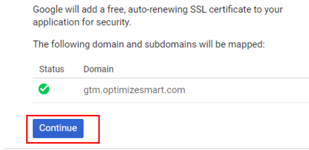 green tick mark with domain name