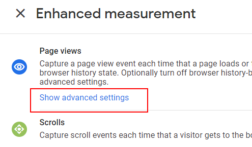 pageview advanced settings