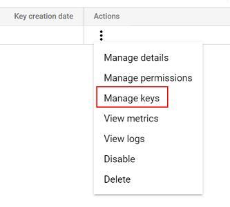 select 'Manage keys