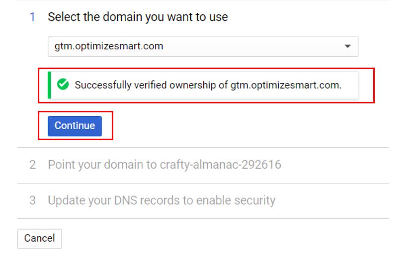 success ful domain verification