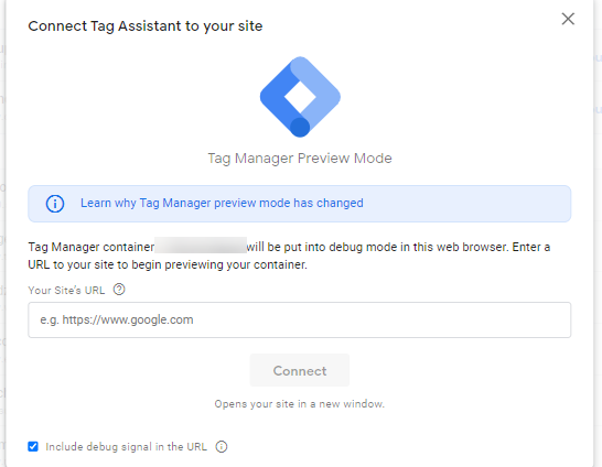 tag assistant preview mode
