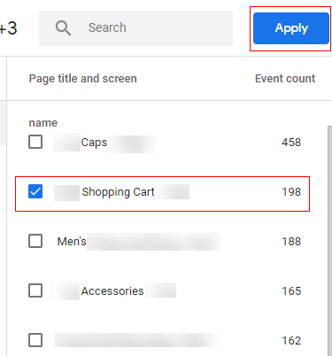 path analysis report step 3 shopping page only