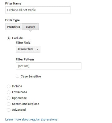 remove referral spam exclude browser size not set filter