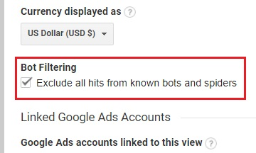 remove referral spam google analytics bot filtering Exclude all hits from known bots and spiders