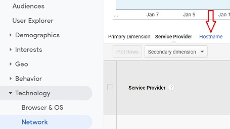 remove referral spam hostname primary dimension