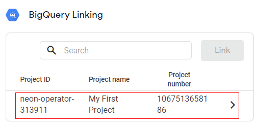 select the project