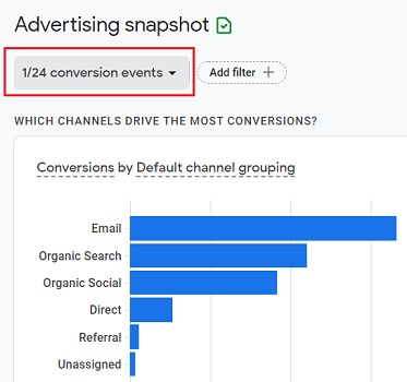Advertising Snapshot report only for the selected conversion type