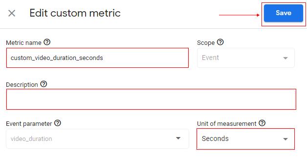 Edit custom metric