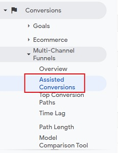 assisted conversions report