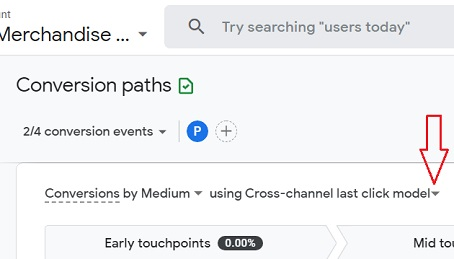 attribution model drop down menu