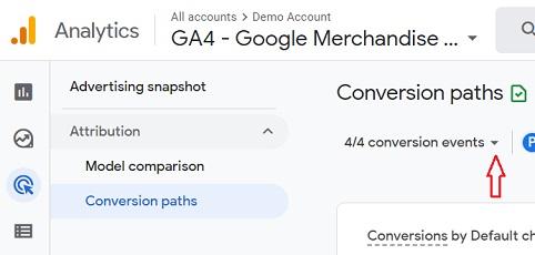 conversion events drop down menu ga4 conversion paths