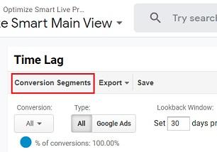 conversion segment time lag report