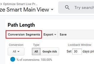 conversion segments path length report