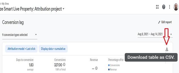 download conversion lag report