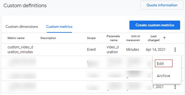 edit metric option