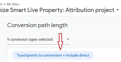 include direct visits in conversion paths