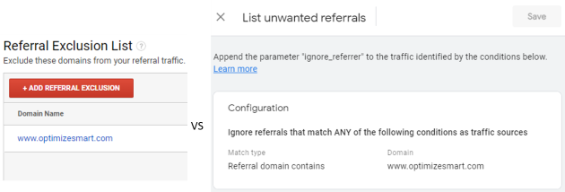 list vs unwanted referral