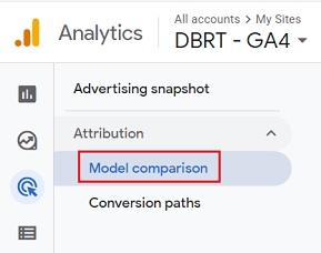 GA4 Model comparison report