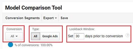 model comparison tool conversion type google ads lookback window