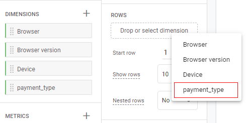 payment type dimension in drop down