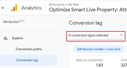 segment conversion lag data