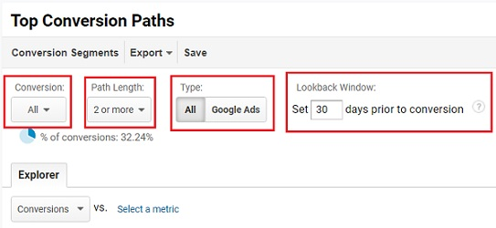 segment the conversion path data by