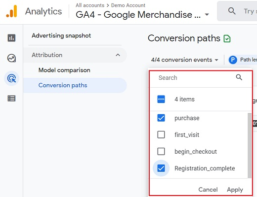 select conversion events