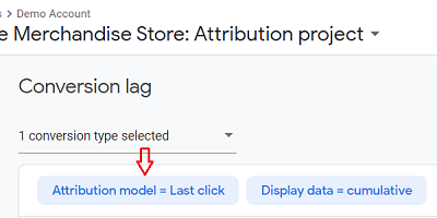 Attribution model Last Click button