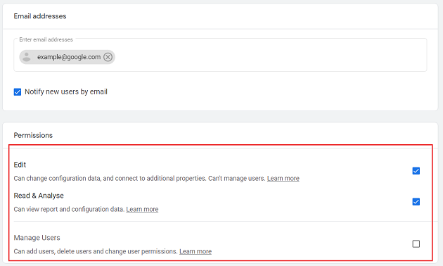 Click on the checkbox next to the permissions