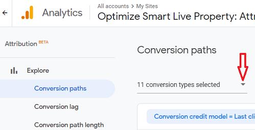 Click on the conversions drop down menu