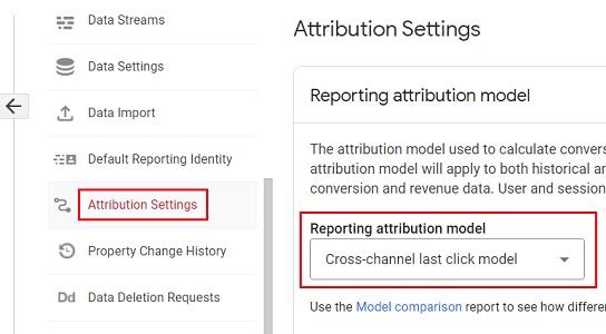 GA4 reporting attribution model