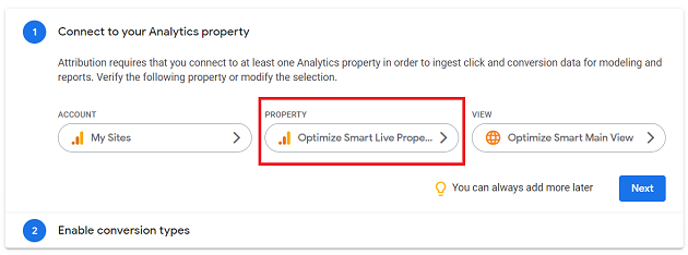 Select the Google Analytics Property