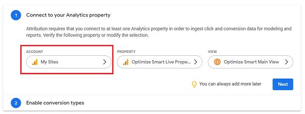 Select the Google Analytics account
