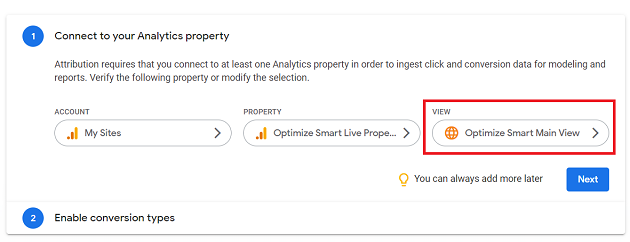 Select the reporting view