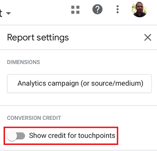 Show credit for Touchpoints