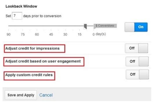 adjust credit for impressions based on user engagement custom credit rules